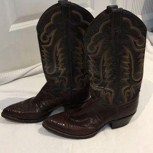 Justin lizard skin boots in Brown, unisex w-11 m-9